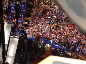 The back of Hillary at the podium.