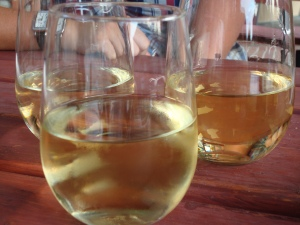 three white wines, all different flavors