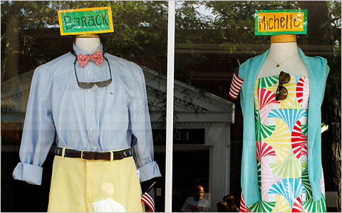 Mannequins with name tags for President Barack Obama and first lady Michelle Obama in a show window on Martha's Vineyard.