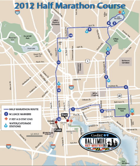 Baltimore Running Festival Half Marathon Course