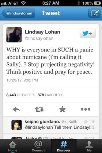 Lindsay Lohan Hurricane Sandy Tweet