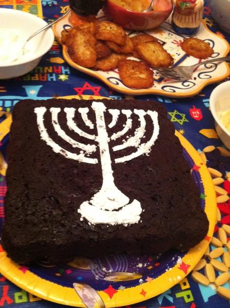 chocolate chip chanukah cake